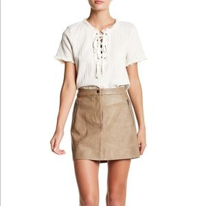 J.O.A. faux leather tan mini skirt • Size S
